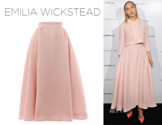 Suki Waterhouse's Emilia Wickstead 'Christian' Textured-Crepe Midi Skirt