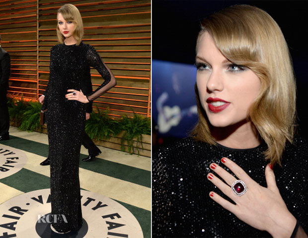 Taylor Swift In Julien Macdonald - Vanity Fair Oscar Party 2014