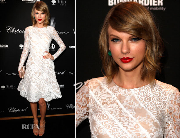 Taylor Swift In Oscar de la Renta - The Weinstein Company's Academy Award Party