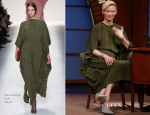 Tilda Swinton In Valentino - Late Night with Seth Meyers