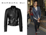 Zoe Saldana's Barbara Bui Quilted Leather Biker Jacket