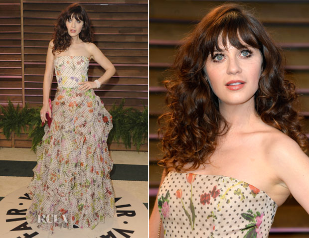 Zooey Deschanel In Oscar de la Renta - Vanity Fair Party 2014