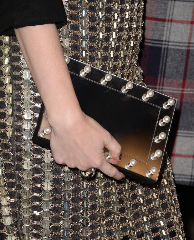 Christina Hendricks' Charlotte Olympia 'Mirror Mirror' Pandora clutch