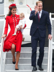 Catherine, Duchess of Cambridge In Catherine Walker -  Wellington Airport Arrival