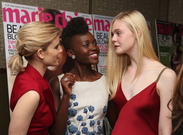 Kate Mara in Dior, Lupita Nyong'o in Giambattista Valli Couture and Elle Fanning in Versace
