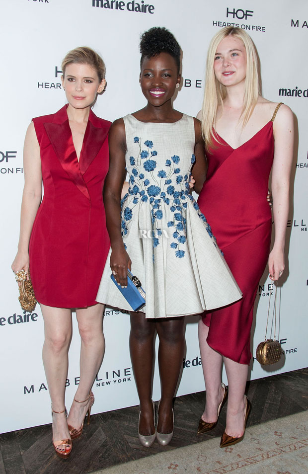 Kate Mara in Dior , Lupita Nyong'o in Giambattista Valli Couture and Elle Fanning in Versace