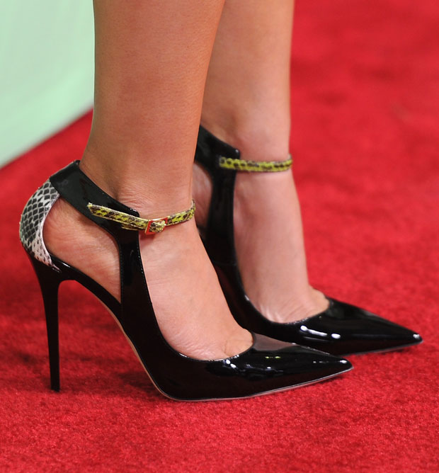Lizzy Caplan's Jimmy Choo Mystic patent-leather and elaphe pumps