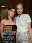 Lizzy Caplan in Roksanda Ilincic and Caitlin Fitzgerald in Houghton