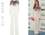 Ahna O'Reilly's Elie Saab Floral-Print Stretch-Crepe Jumpsuit