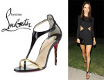 Alessandra Ambrosio's Christian Louboutin 'Athena' Calf Hair T-Strap Sandals