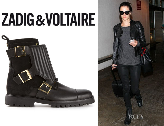 Alessandra Ambrosio's Zadig & Voltaire Buckled Ankle Boots