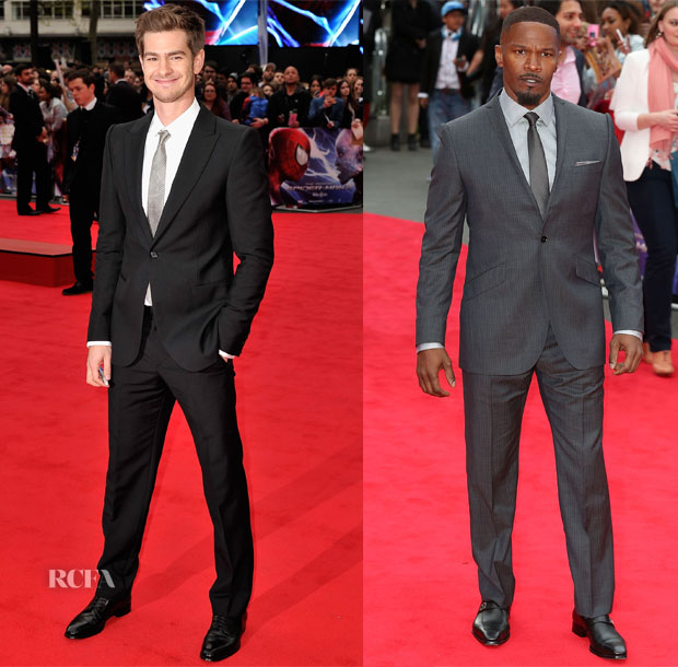 Andrew Garfield In Alexander McQueen & Jamie Foxx In Ozwald Boateng - 'The Amazing Spider-Man 2 Rise of Electro' World Premiere