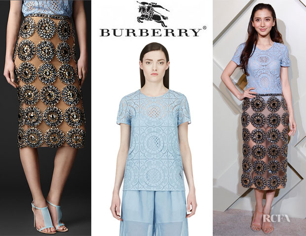 Angelababy's Burberry Gem Embroidered Pencil Skirt And Burberry Lace T-Shirt