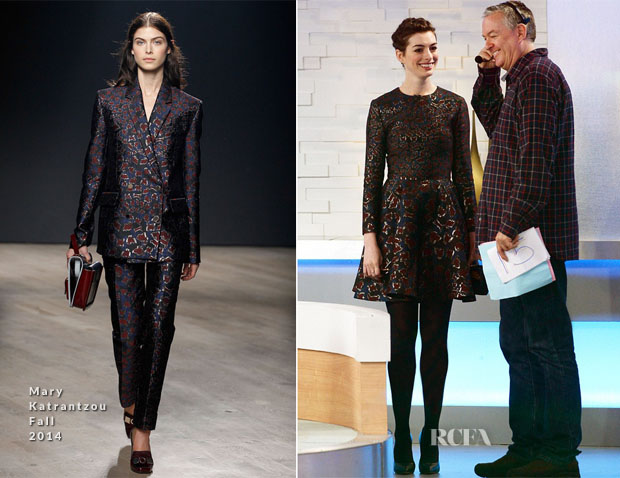 Anne Hathaway In Mary Katrantzou Fall 2014 - Good Morning America