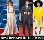 Best Dressed Of The Week - Emma Stone In Prada, Solange Knowles In Christopher Kane & David Beckham In Ralph Lauren Black Label