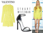 Brooklyn Decker's Valentino Lace Romper And Stuart Weitzman 'Nudist' Single Band Sandals