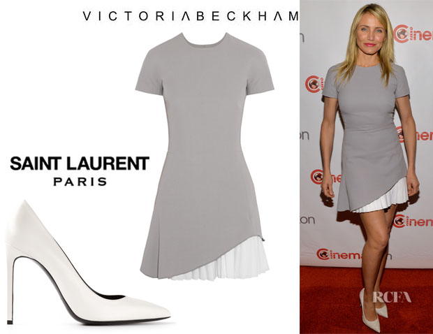 Cameron Diaz' Victoria Beckham Crepe Mini Dress And Saint Laurent 'Classic Paris 105' Pumps