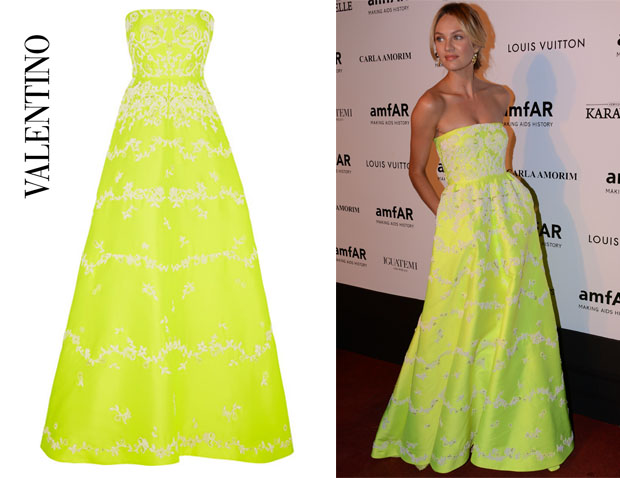 Candice Swanepoel's Valentino Embellished Neon Duchess Satin Gown