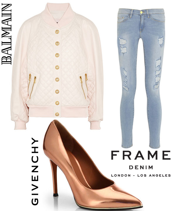 Cheryl  Cole In Balmain & Frame Denim