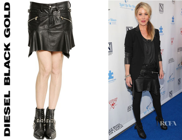 Christina Applegate's Diesel Black Gold Leather Biker Skirt