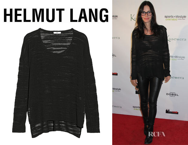 Courteney Cox' Helmut Lang Burnout-Effect Knitted Sweater