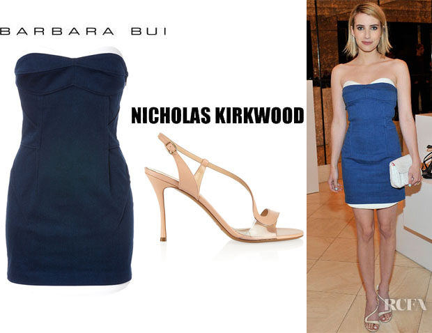 Emma Roberts' Barbara Bui Body-Con Mini Dress And Nicholas Kirkwood Leather And PVC Sandals