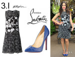 Emmy Rossum's 3.1 Phillip Lim Silk Sequined Embroidered Dress And Christian Louboutin 'Pigalle' Python Pumps