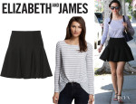 Emmy Rossum's Elizabeth And James 'Kim' Stripe Top And Elizabeth And James 'Morrison' Ruffled Stretch-Jersey Mini Skirt