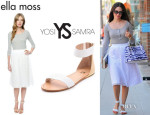 Emmy Rossum's Ella Moss 'Tessa' Pleat Eyelet Skirt And Yosi Samra 'Cambelle' Flat Sandals