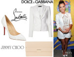 Eva Longoria's Dolce & Gabbana Classic Blazer, Jimmy Choo 'Reese' Clutch And Christian Louboutin Python 'Pigalle' Pumps