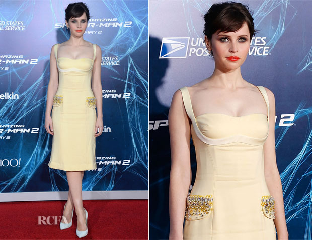 Felicity Jones In Miu Miu -  'The Amazing Spider-Man 2 Rise Of Electro' New York Premiere