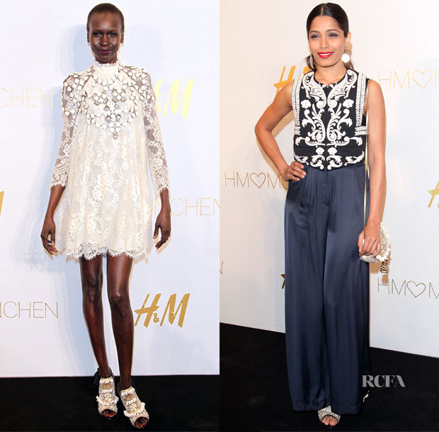 Freida Pinto & Alek Wek In H&M Conscious Collection - H&M Munich Store Opening