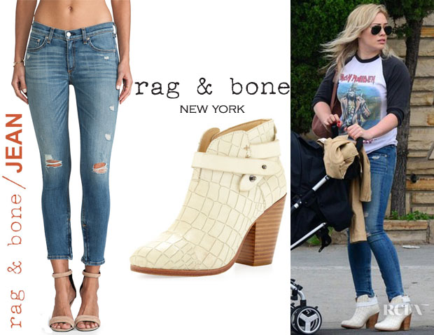 Hilary Duff's Rag & BoneJEAN Shredded Zipper Distressed Capri And Rag & Bone 'Harrow' Crocodile-Embossed Ankle Boots