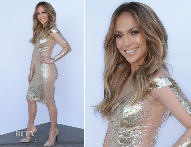 Jennifer Lopez In Georges Chakra - 'American Idol Season 13 Top 5 To 4′ Elimination Show