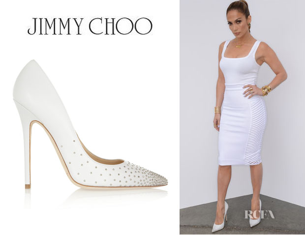 Jennifer Lopez' Jimmy Choo 'Anouk' Studded Leather Pumps