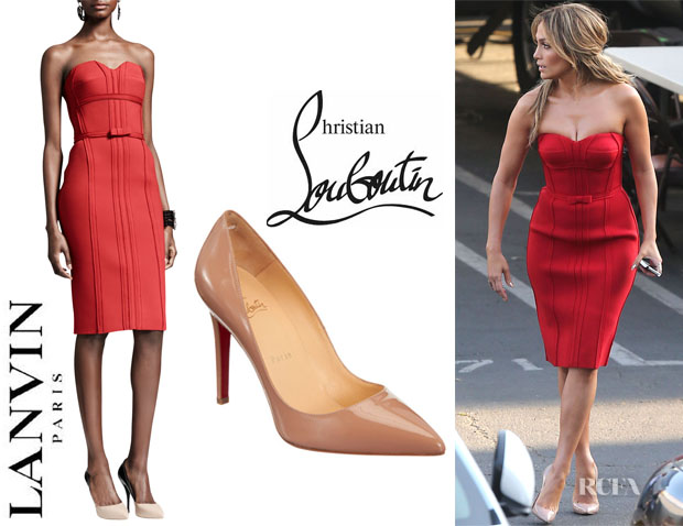 Jennifer Lopez' Lanvin Strapless Bustier Dress And Christian Louboutin 'Pigalle' Pumps