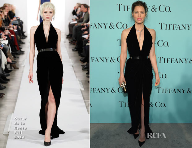 Jessica Biel In Oscar de la Renta - Tiffany & Co Celebrates The 2014 Blue Book