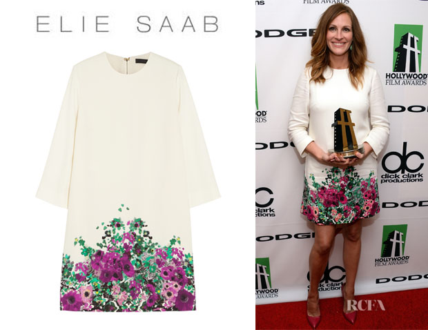 Julia Roberts' Elie Saab Floral-Print Crepe Mini Dress