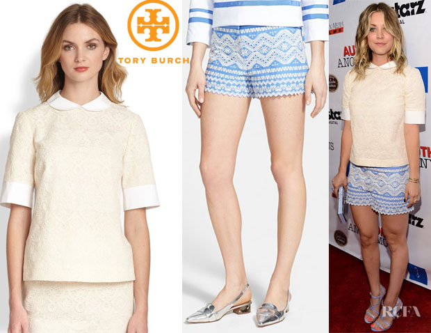 Kaley Cuoco's Tory Burch 'Aurelia' Lace Top And Tory Burch 'Veronique' Embroidered Shorts