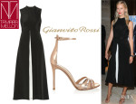 Karolina Kurkova's Tamara Mellon Silk Jumpsuit And Gianvito Rossi Metallic Leather Sandals