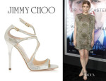 Kate Mara's Jimmy Choo Champagne Glitter Leather Sandals