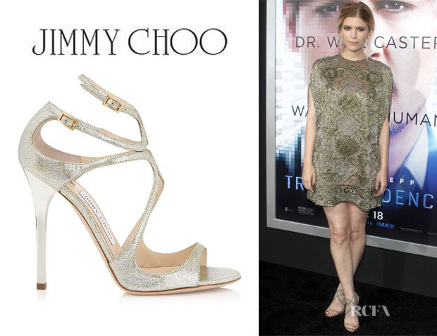 d2157a6aae Kate Mara's Jimmy Choo Champagne Glitter Leather Sandals - Red ...