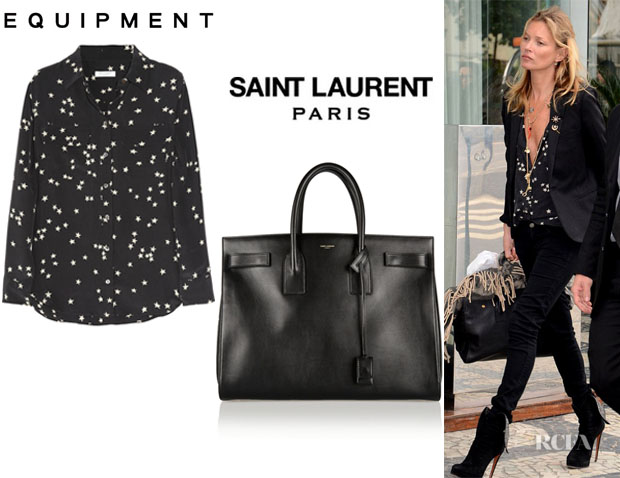 Kate Moss' Equipment Slim Signature Printed Washed-Silk Shirt And Saint Laurent 'Sac De Jour' Leather Tote
