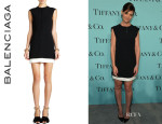 Katie Holmes' Balenciaga Contrast-Band Sleeveless Dress