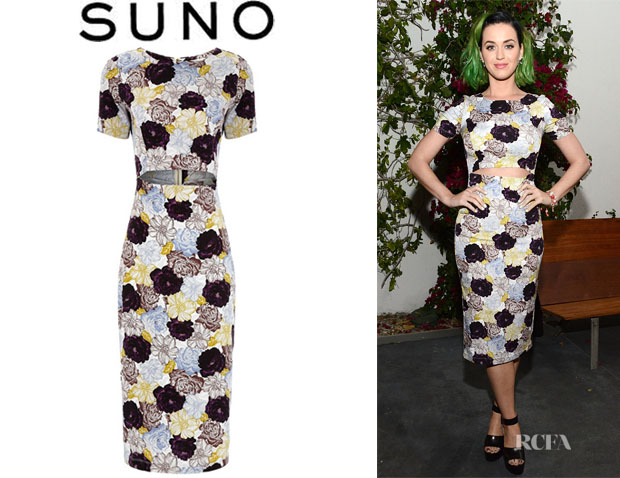 Katy Perry's Suno Floral Blue Silk Cut-Out Dress
