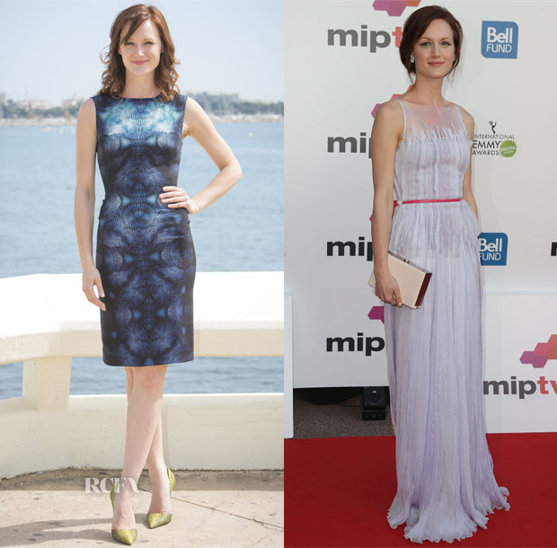 Kerry Bishé In Fitriani & Georges Hobeika - 'Halt & Catch Fire' Photocall & MIPTV Opening Party