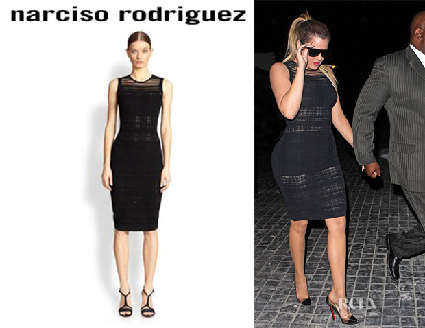 Khloe Kardashian's Narciso Rodriguez Clear Plaid Knit Dress