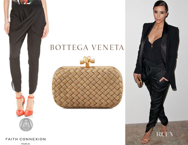 Kim Kardashian's Faith Connexion Draped Pants And Bottega Veneta Woven-Chain Knot Minaudiere