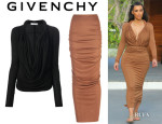 Kim Kardashian's Givenchy Open Front Blouse And Givenchy Maxi Skirt