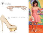 Lea Michele's Charlotte Olympia 'The Dolly' Platform Pumps And Anita Ko 'Arrow' Rose Gold Bracelet